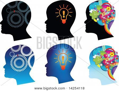 Abstract thought and thinking and brain power illustrations