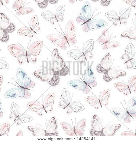 Seamless soft pattern with tender butterflies on white background, vector illustration in vintage style.