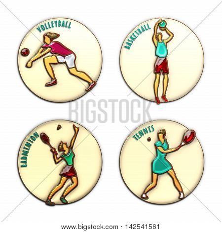 Athlete Icons. Volleyball. Basketball. Badminton. Tennis. Summer games. Sport icons with sportsmen for competitions or championship design. Original 3D Illustration. Gold enamel and colored glass