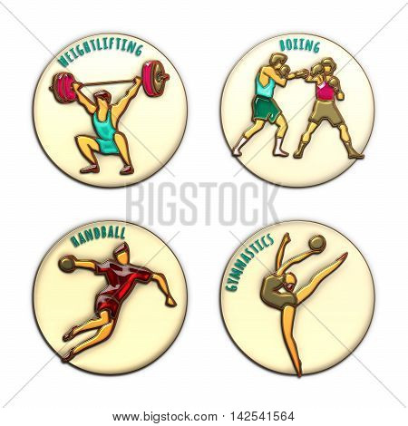 Athlete Icons. Boxing. Handball. Weightlifting. Artistic Gymnastics. Summer games. Sport icons with sportsmen for competitions or championship design. Gold enamel and colored glass. 3D illustration.