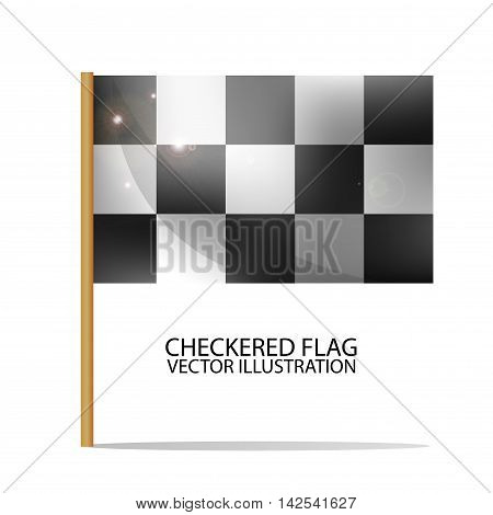 Checkered Flag. Race Symbol. Realistic Vector Illustration.