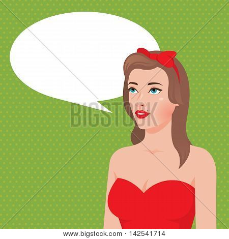Pin up girl with speech bubble Stock vector illustration
