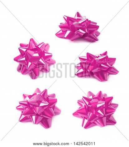 Decorational purple ribbon gift bow isolated over the white background, set collection of five diffirent foreshortenings