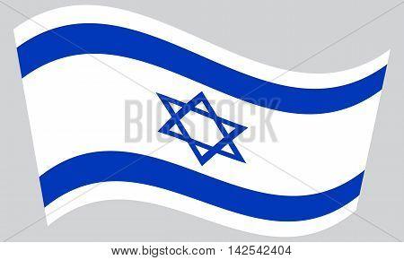 Flag of Israel waving on gray background. Israeli national flag.