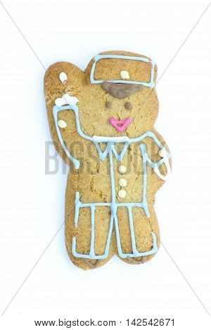 Gingerbread man. White background. Hand is up