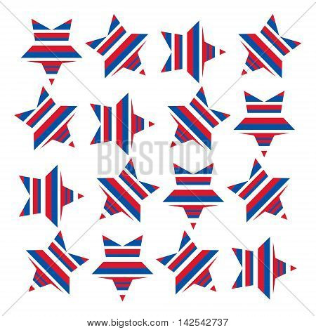 A stars and stripes pattern symbolising the American flag. Stars arranged in a square have been filled with red white and blue stripes.