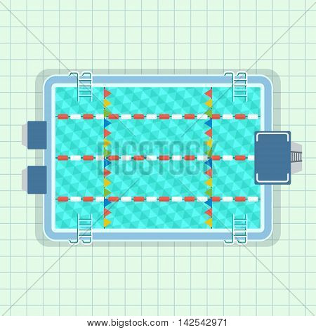 Empty pool for lap swimming and jumping into the water from a tower. Poolside image. Cartoon flat vector illustration. Objects isolated on a white background.