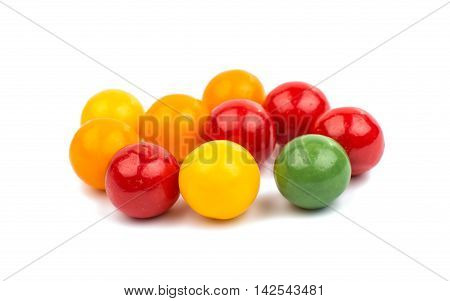 fruit jelly beans colored, macro on white background