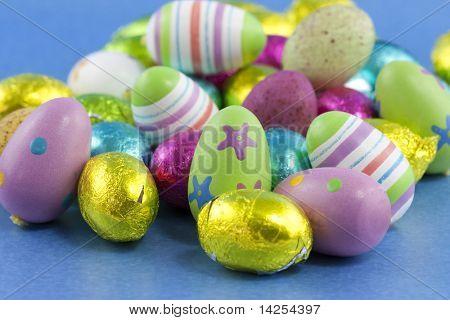 hand painted easter eggs close up macro studio shot