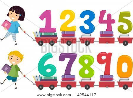 Stickman Illustration of Kids Pulling a Cart Carrying Numbers