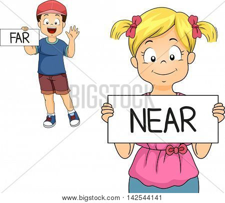 Illustration of a Little Boy and Girl Demonstrating What Near and Far Mean