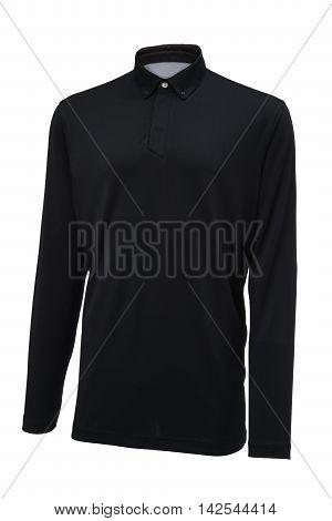 Golf long sleeve black sport shirt isolated on white background