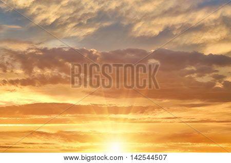 Bright evening sunset. design element Bright evening sunset