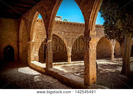 Archway of Medieval Ayia Napa Monastery Cyprus.