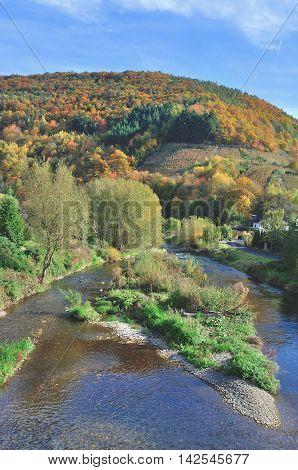 Autumn Landscape at Ahr Valley near Bad Neuenahr,Rhineland-Palatinate,Germany