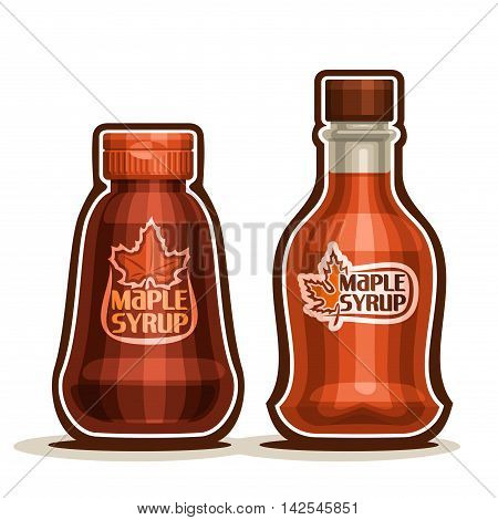 Vector logo Maple Syrup Bottles, jar sweet maple nectar with plastic cap, souvenir glass bottle canadian syrup with leaf on label, isolated on white background, vermont liquid dessert for breakfast.