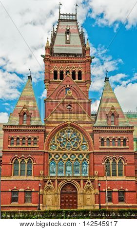Memorial Hall In Harvard University Of Cambridge. Massachusetts,