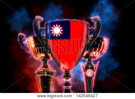 Trophy cup textured with flag of Taiwan. 2D Digital illustration.