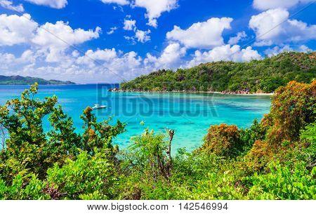 Tropical scenery - breathtaking Praslin island,Seychelles