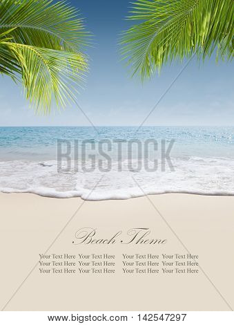 View of nice tropical beach. Banner, extra space for your text.