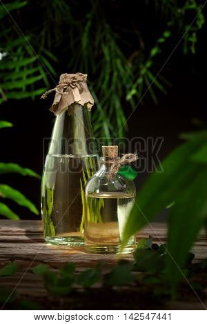 close up view of nice small bottle with massage oil on color back