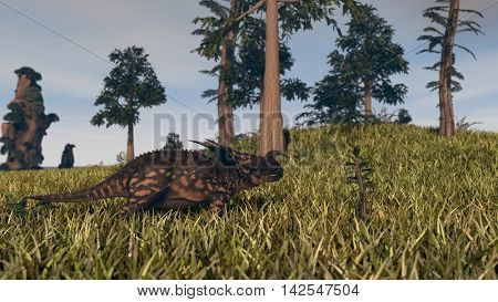 3d illustration of the walking einiosaurus dinosaur