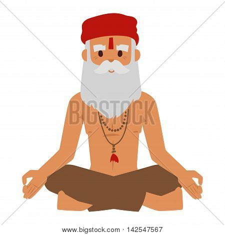 Vector illustration of Indian culture meditation old man sitting lotus yoga pose figure. Indian old man happy person. Ethnicity casual Indian grandpa relax pose traditional bollywood character.