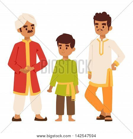 Vector illustration of Indian culture man people standing figure. Indian male people happy person. Ethnicity cheerful casual Indian people, traditional man and boy characters