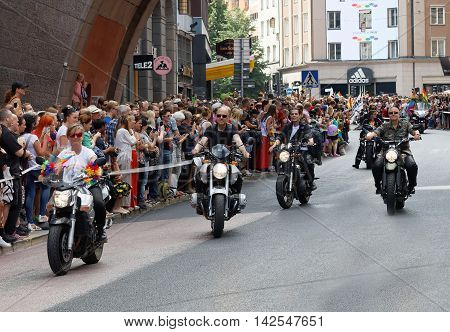 STOCKHOLM SWEDEN - JUL 30 2016: Group of people on motorcycles in the Pride parade July 30 2016 in Stockholm Sweden
