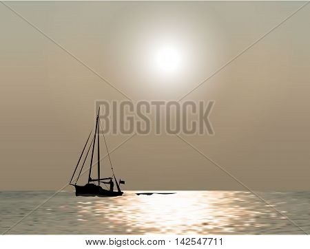 Sunset at sea with yachts. Sea voyage on the yacht.