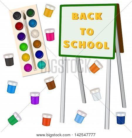 Art school elements. Back to school text on the easel. Brush , watercolor and gouache drawing learning children. Vector illustration