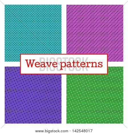 Set of geometric weave pattern in white background. Fabric weave seamless texture. Vector Illustration