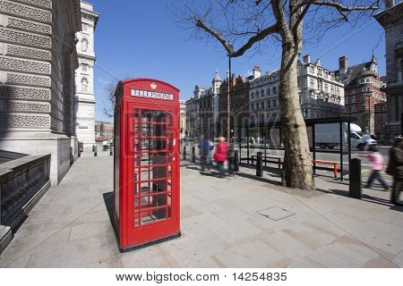 Traditional old red telephone box in central london