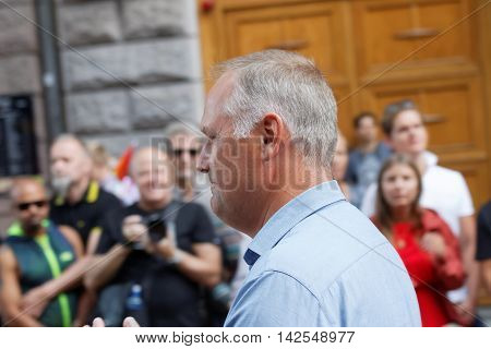 STOCKHOLM SWEDEN - JUL 30 2016: The swedish party leader Jonas Sjostedt in the Pride parade July 30 2016 in Stockholm Sweden