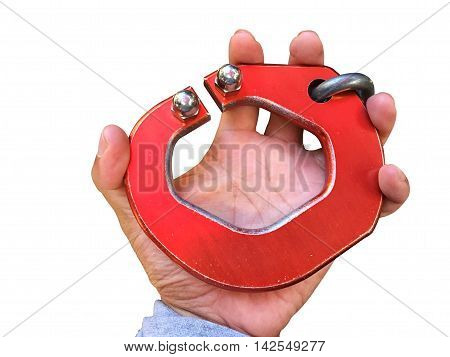 horizontal photo of big red carabiner on man's left hand isolated on white background clipping path