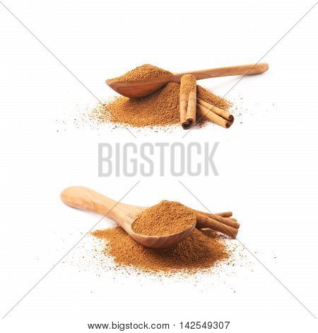 Pile of cinnamon powder with the wooden spoon and raw bark sticks on top of it, composition isolated over the white background, set of two different foreshortenings