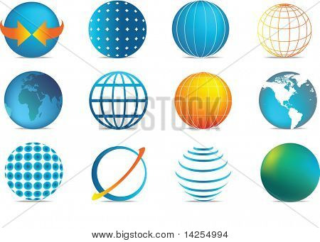 selection of colour globe icons in different illustration styles