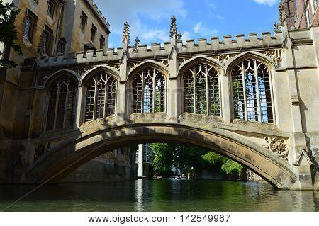 Historic Sigh Bridge in Cambridge, England on a sunny day