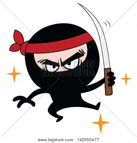 Ninja Cartoon Character Design Vector Illustration Art