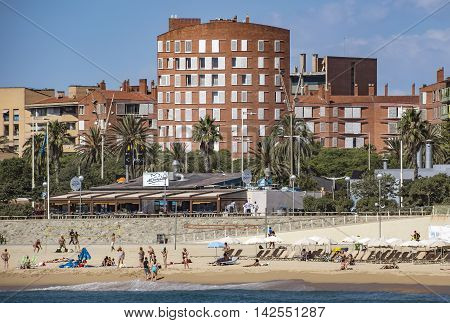 BARCELONA SPAIN - JULY 13 2016: Architecture Poblenou district in Barcelona Spain