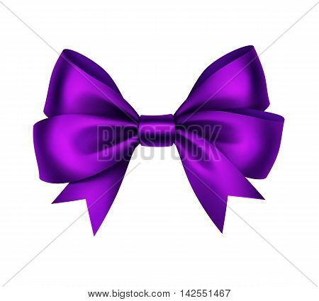 Vector Shiny Purple Satin Gift Bow Close up Isolated on White Background