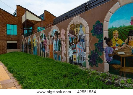 Lititz PA - July 30 2016: Murals outside the BB&T Bank University Building at the entrance in Lititz Lancaster County Pennsylvania.