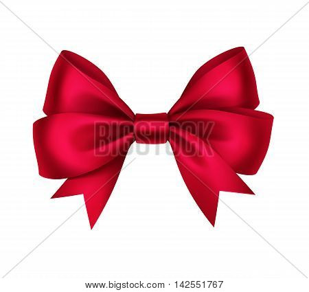 Vector Shiny Red Satin Gift Bow Close up Isolated on White Background
