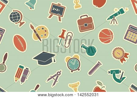 Seamless pattern on the theme of school and education