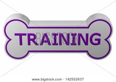 Concept: dog training. Dog bone with words - training. isolated on white background. 3D rendering.