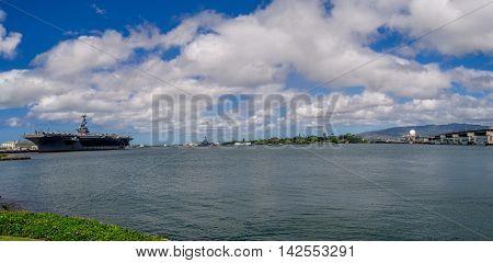 Panoramic View of the Historic Pearl Harbor - Oahu, Hawaii.