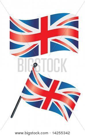 La bandera británica o la bandera ondeando en el viento
