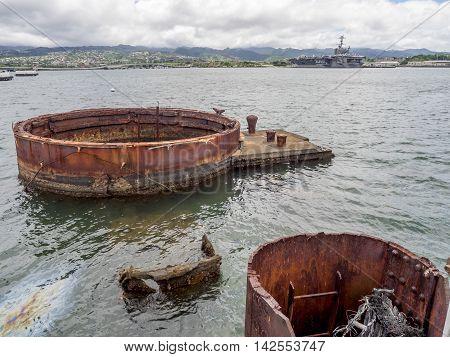 Remains of the U.S.S. Arizona in Pearl Harbor, Hawaii
