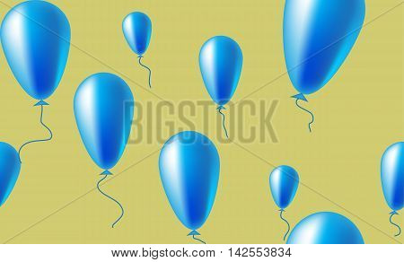 Seamless pattern of shiny blue balloons on a light mustard background. Can be used to create paper for wrapping gifts and fabrics for children's clothes, home textiles