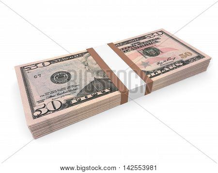 Pack Of Fifty Dollars Bank Notes.